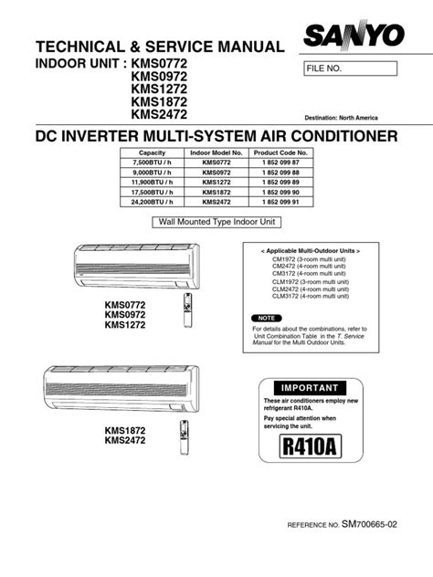 Service Manual For Sanyo Air Conditioner