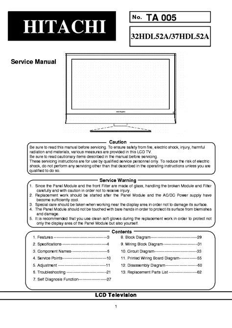 Service Manual Hitachi 37hdl52a Lcd Tv