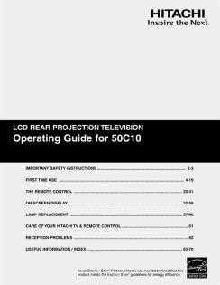 Service Manual Hitachi 50c10 Lcd Rear Projection Television