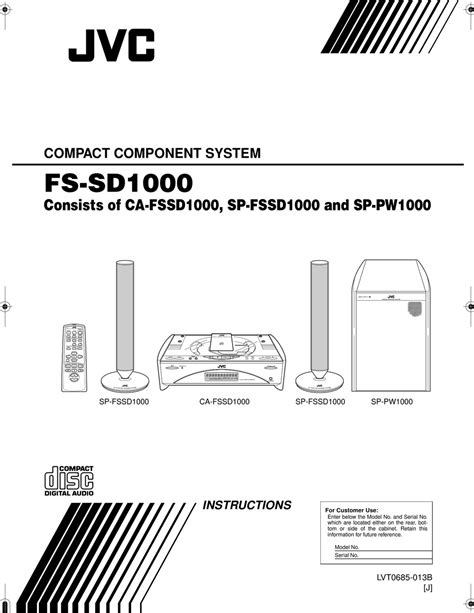 Service Manual Jvc Fs Sd1000 Compact Component System