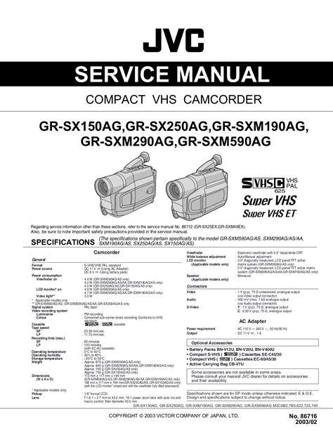 Service Manual Jvc Gr Sx25ek Gr Sx25ex Compact Vhs Camcorder