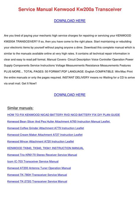 Service Manual Kenwood Kw200a Transceiver