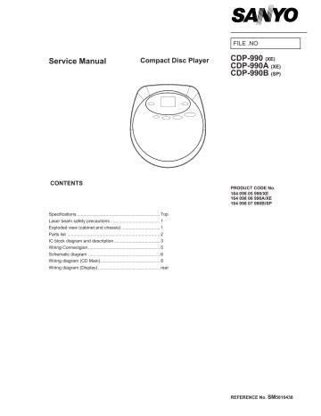 Service Manual Sanyo Cdp 990a Cdp 990b Cd Player