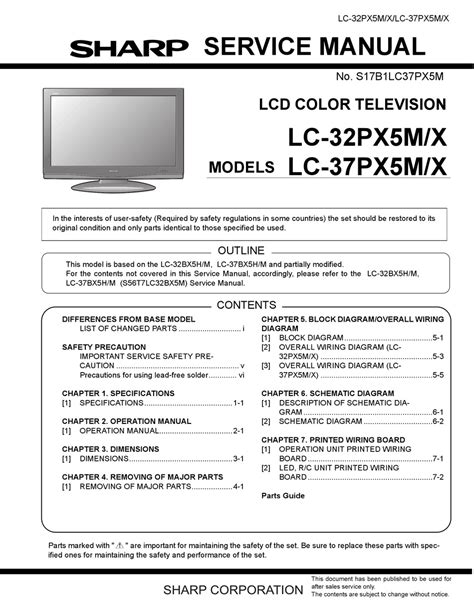 Sharp 54fs 51s Color Television Parts List Manual