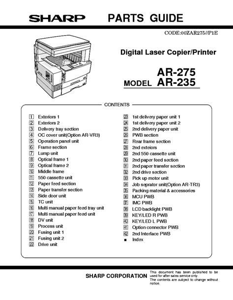 Sharp Ar 235 Ar 275 Digital Laser Copier Printer Repair Manual