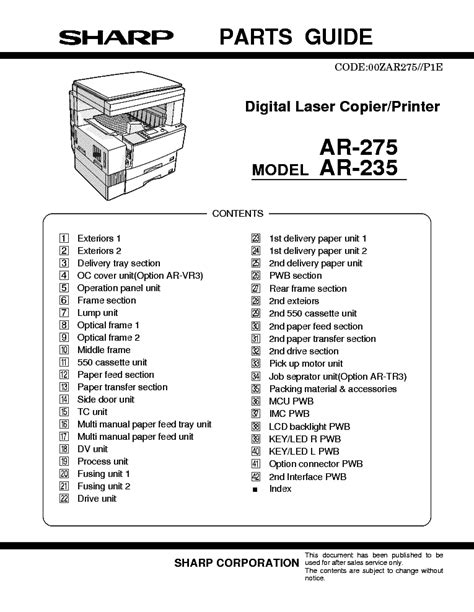 Sharp Ar 275 Service Manual Pages