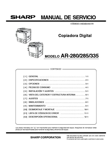Sharp Ar 280 285 335 Service Manual Parts Guide