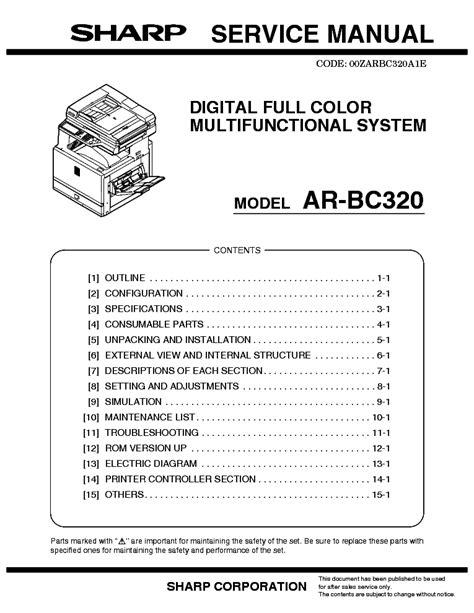 Sharp Ar Bc320 Service Manual