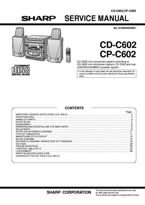 Sharp Cd C602 Cp C602 Service Manual