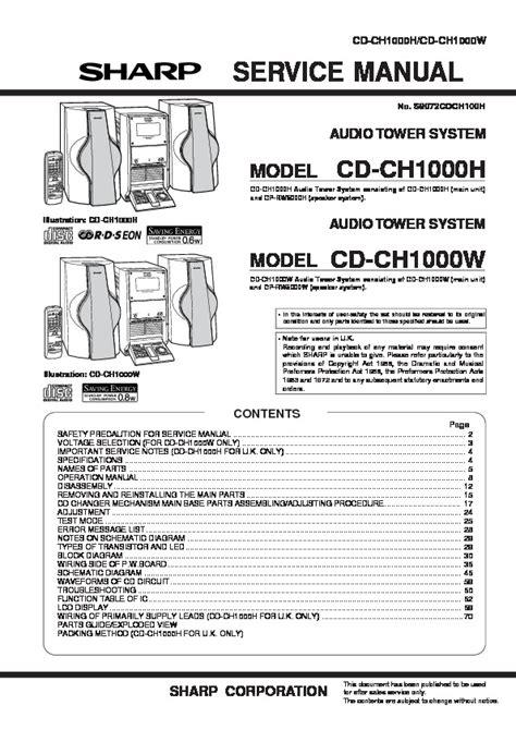 Sharp Cd Ch1000 Hifi System Service Manual