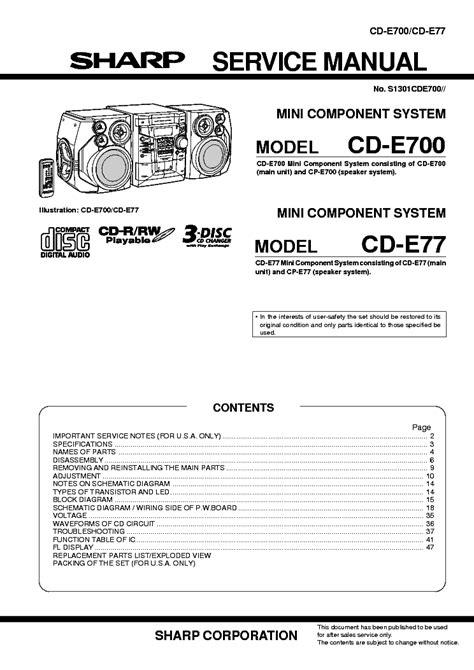 Sharp Cd E700 Cd E77 Service Manual