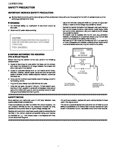 Sharp Lc 37sd1e Ru Lcd Tv Service Manual