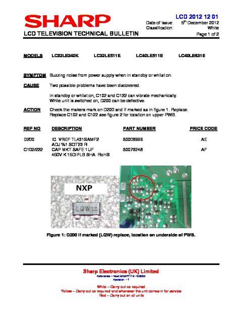 Sharp Lc 40le531e Service Manual Repair Guide