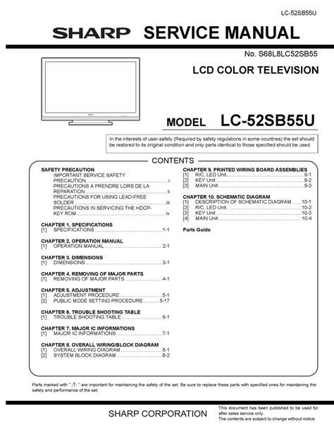 Sharp Lc 52sb55u Service Manual Repair Guide