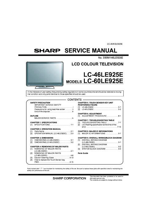 Sharp Lc 60le925e 46le925e Service Manual Repair Guide