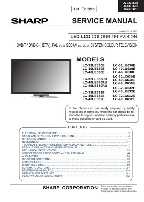 Sharp Lc37gd7e Lcd Tv Service Manual