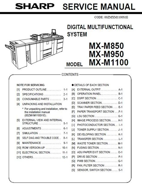 Sharp Mx M850 Service Manual