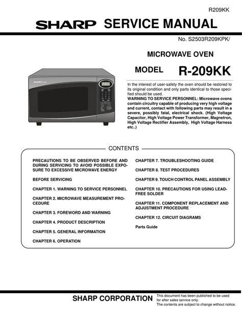 Sharp R 209kk Microwave Oven Service Manual