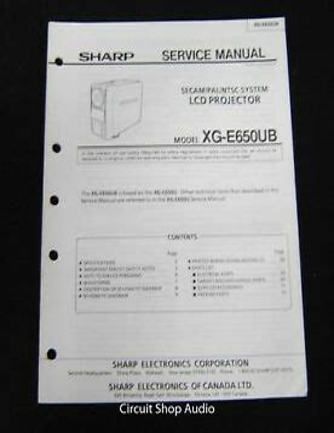 Sharp Xg Nv5xu Lcd Projector Service Manual