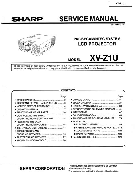 Sharp Xv Z1u Lcd Projector Service Manual