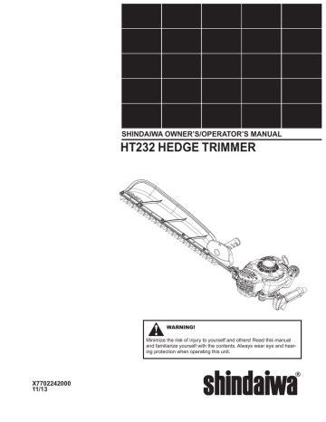 Shindaiwa Ah231 Service Manual