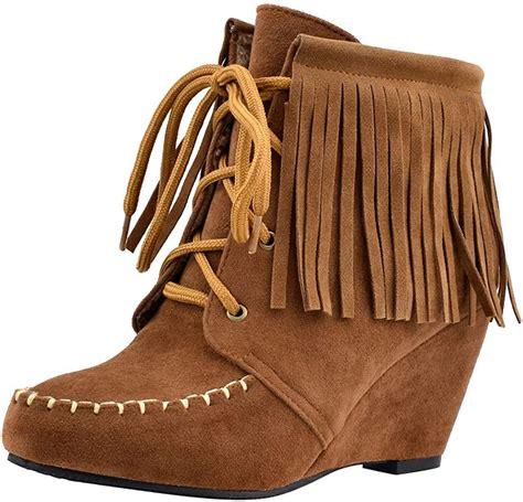 Showsing Chaussures Compensees A Talons Hauts Pour Femmes Avec Glands Et Bottes De Neige