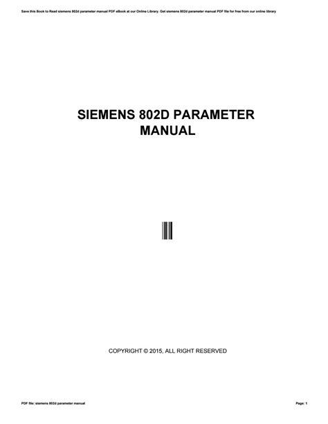 Siemens 802d Parameter Manual