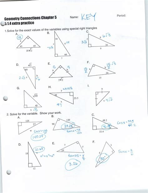 Similarity In Right Triangles Answers