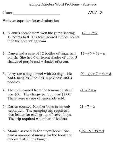 Simple Math Word Problems With Solutions