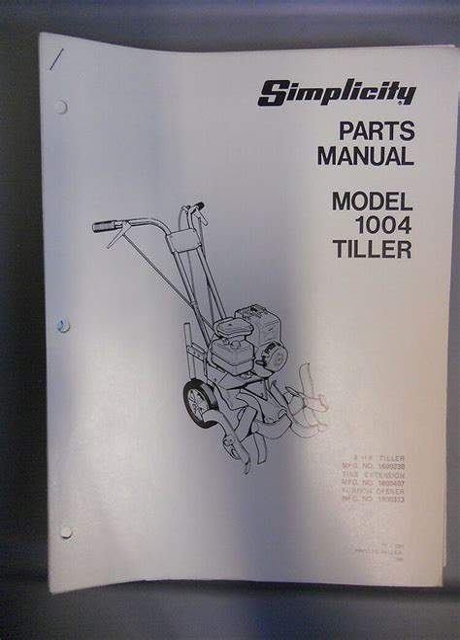 Simplicity Model 1004 4 Hp Tiller Operators Manual By Simplicity