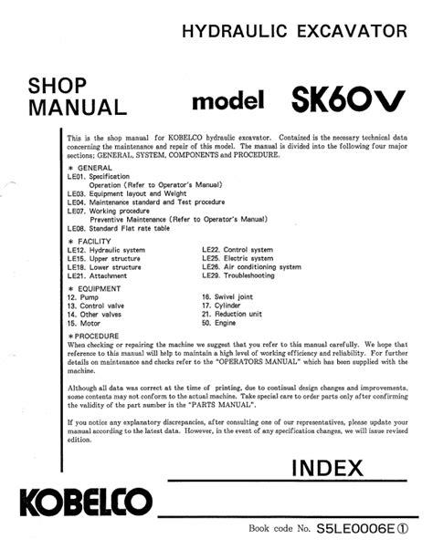 Sk60v Crawler Excavator Service Repair Shop Manual