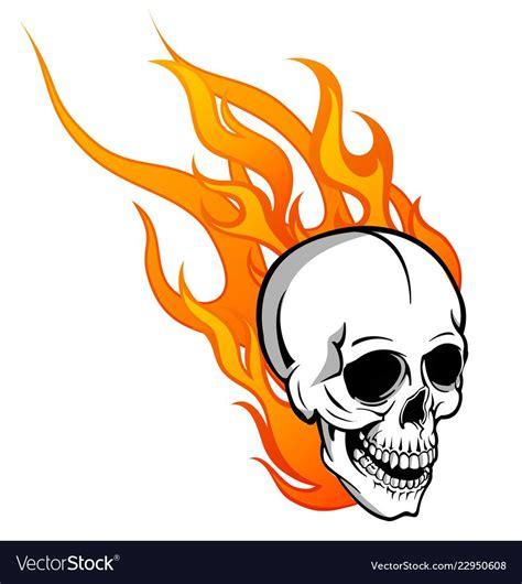 Skull On Fire Blank Line Journal