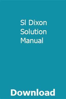 Sl Dixon Solution Manual