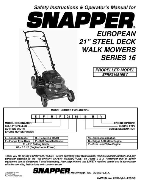 Snapper Mower Operator S Manual