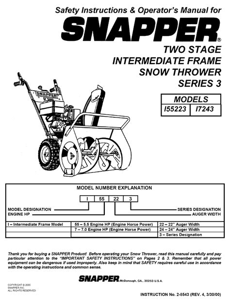 Snapper Repair Manual Sr1030