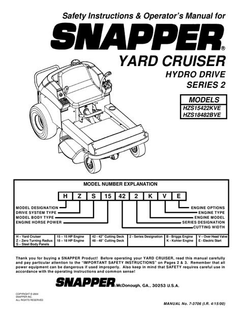Snapper Repair Manual Yard Cruiser