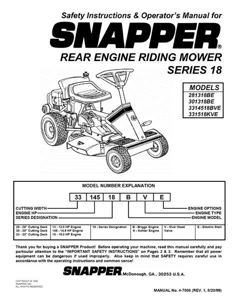 Snapper Rider Manual