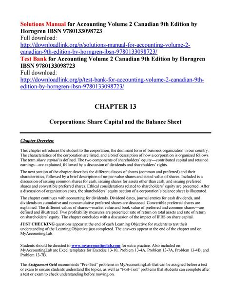 Solution Manual Accounting 9th Edition By Horngren