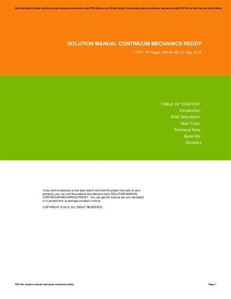 Solution Manual Continuum Mechanics Reddy
