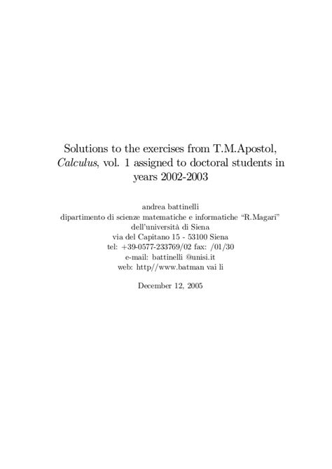 Solution Manual For Apostol Calculus Vol 2