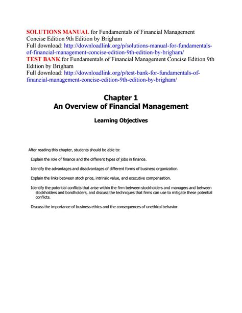 Solution Manual For Fundamentals Of Financial Management
