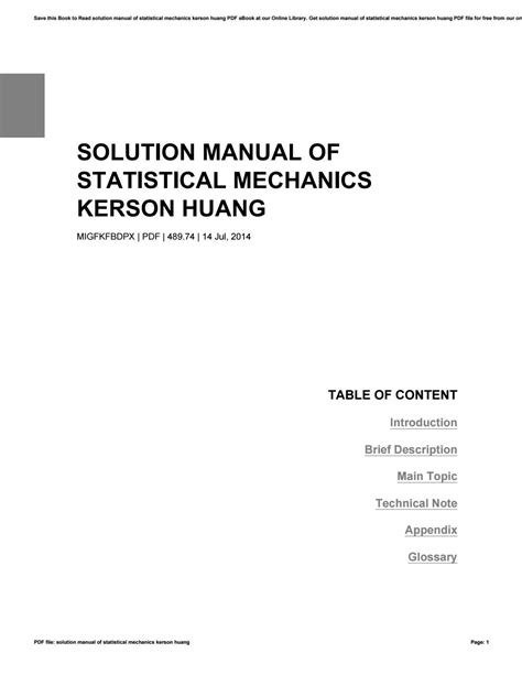 Solution Manual For Kerson Huang