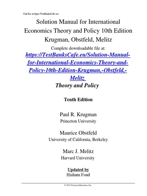 Solution Manual International Economics Theory And Policy
