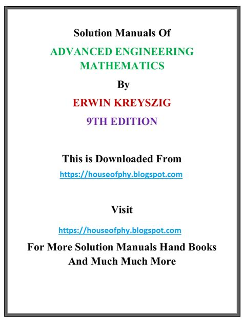 Solution Manual Of Advanced Engineering Mathematics By Erwin Kreyszig 8th Edition
