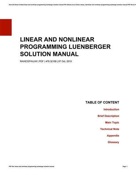 Solution Manual Of Linear And Nonlinear Programming