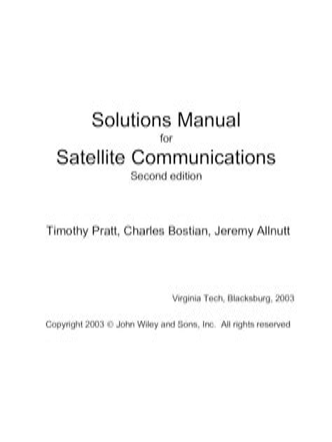 Solution Manual Satellite Communication Timothy Pratt