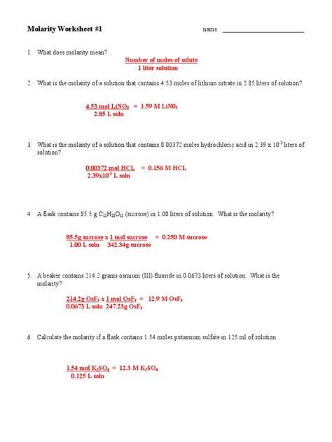 Solution Worksheet 1 Molarity Answer Key
