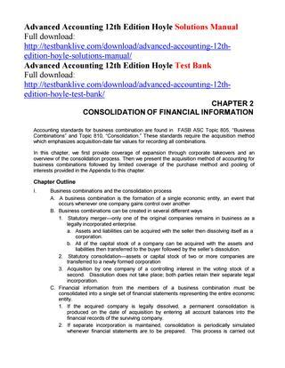 Solutions Manual Advanced Accounting Hoyle