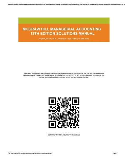 Solutions Manual For Mcgraw Hill Managerial Accounting