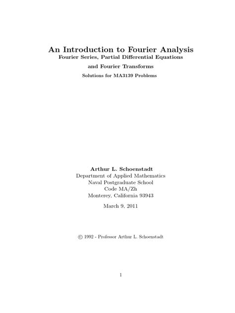 Solutions Manual Fourier Analysis An Introduction 2003